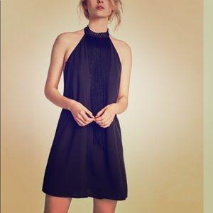 Zara Basic Sleeveless Fringed Halter Neck Dress